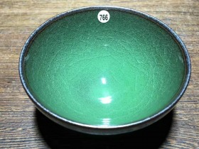 龙窑柴烧精品~冰裂纹翡翠绿!范永寿师傅作品,口径9.1高4.2