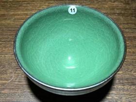 冰裂纹翡翠绿~范永寿师傅龙窑柴烧作品! 口径8.7高5.1