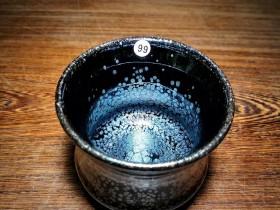 黑底银斑泰斗~竹节杯!卓立旗师傅作品! 口径7.3高6.6