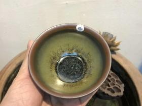 省级非遗传承人   作者:阙梅娇 作品:柴烧  西瓜纹 茶绿釉 鹧鸪斑 口径:9.2cm*5.5cm