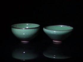 全国首发亮相 龙窑柴烧 范永寿老师 作品翡翠绿新器型 对杯 束口:8.3  灯盏:8