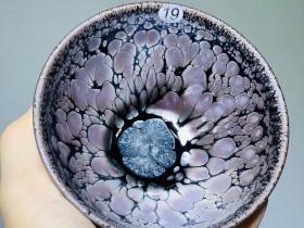 粉色大油滴 宛若桃花瓣  油滴茶盏•黎祥作品 束口器型 9.8×6.6cm