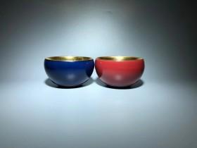 作者:李昌海 老师 作品:蓝宝石 红宝石 木叶盏 口径:8.5cm*5.4cm