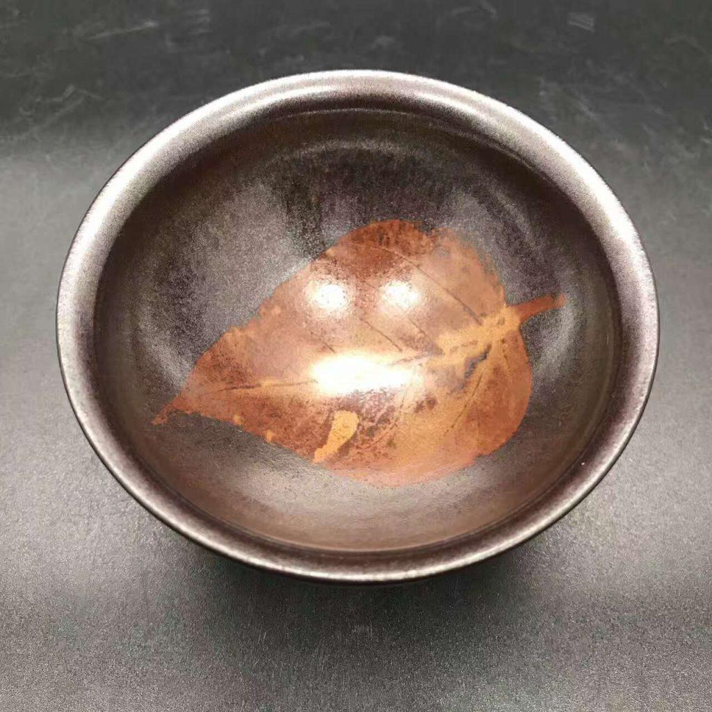 国家级大师-孙建兴,精品柿红木叶盏,口径9高5