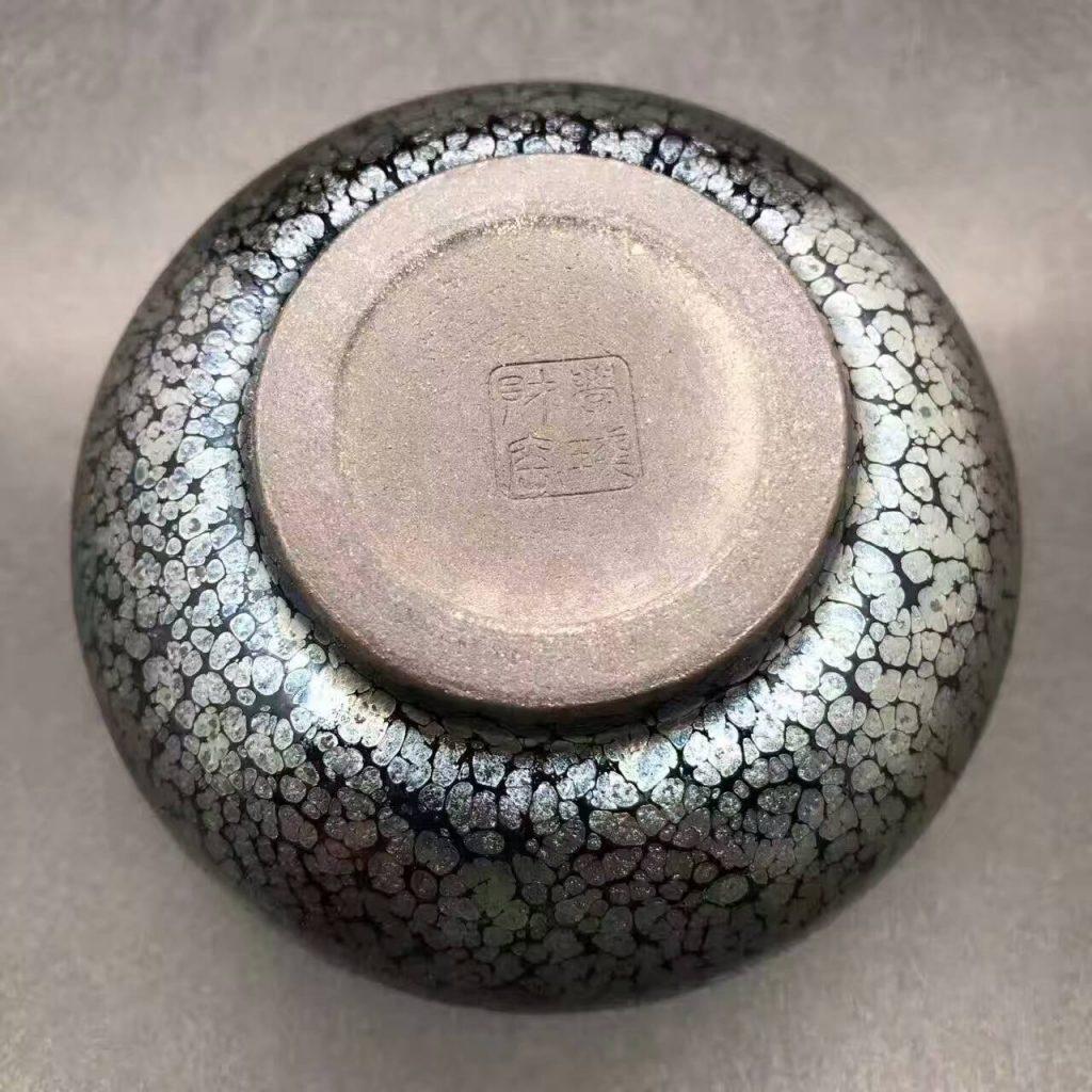 刘学财师傅,蓝油滴,经典禅定器型,口径9.2肚大10高5