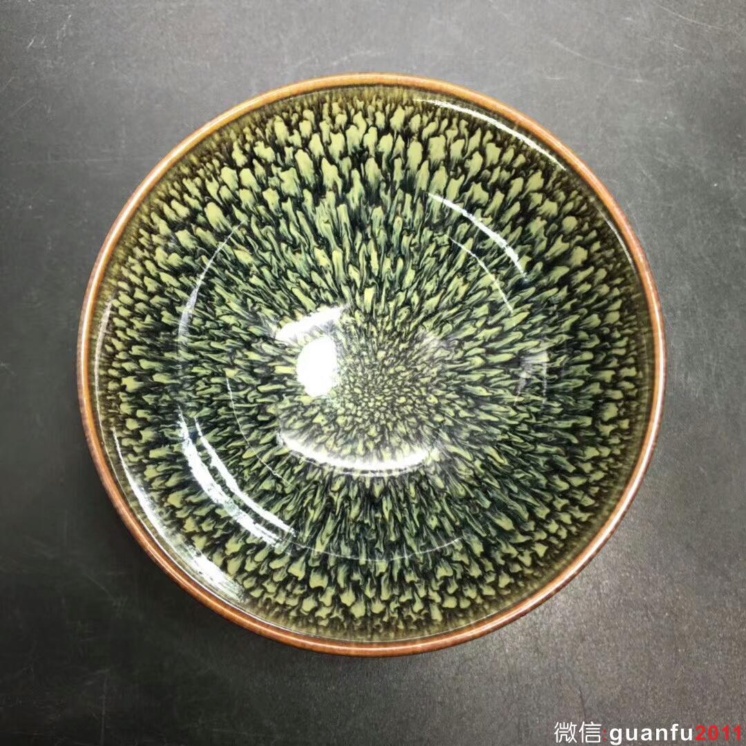 范泽锋大师 精品天目 孔雀纹:口径8.9*4.8