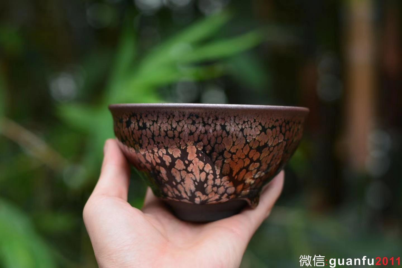 原窑建盏 叶新奴师傅 12.5公分紫金束口盏 「点茶碗,收藏器」