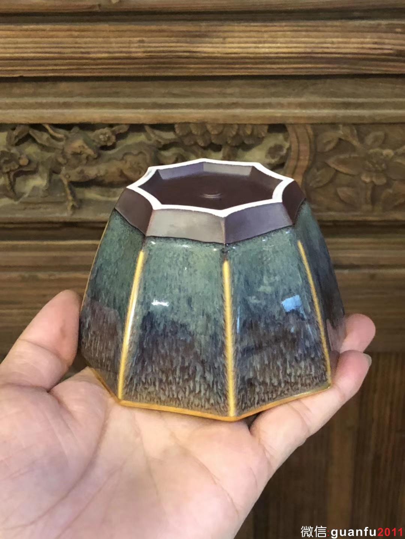 【八面玲珑】星月盏   范泽锋老师制  描金边 四户八窗明,玲珑逼上清  口径:10.8公分高6公分