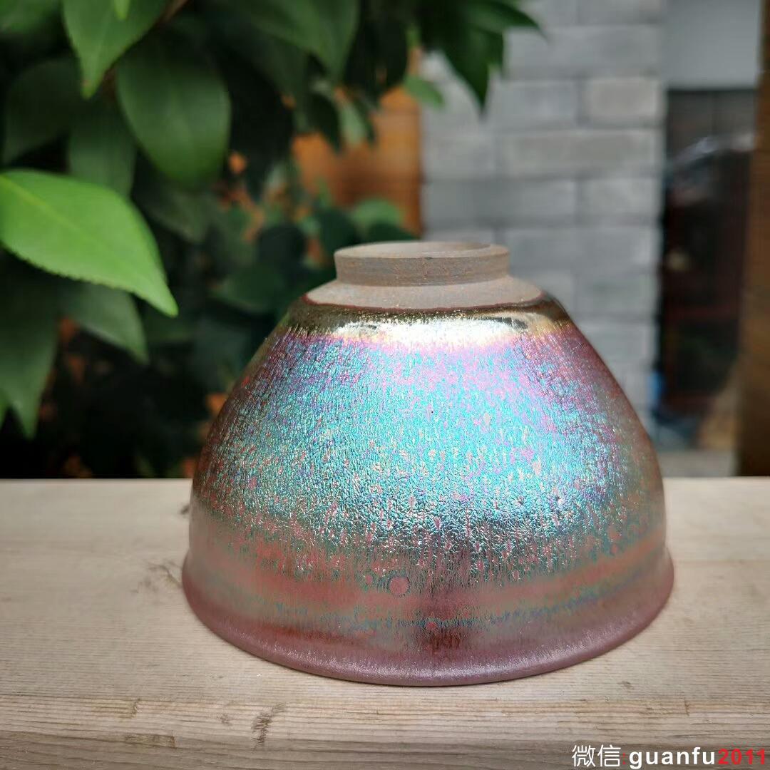粉彩油滴~李隆森师傅作品 口径8.7高5.6