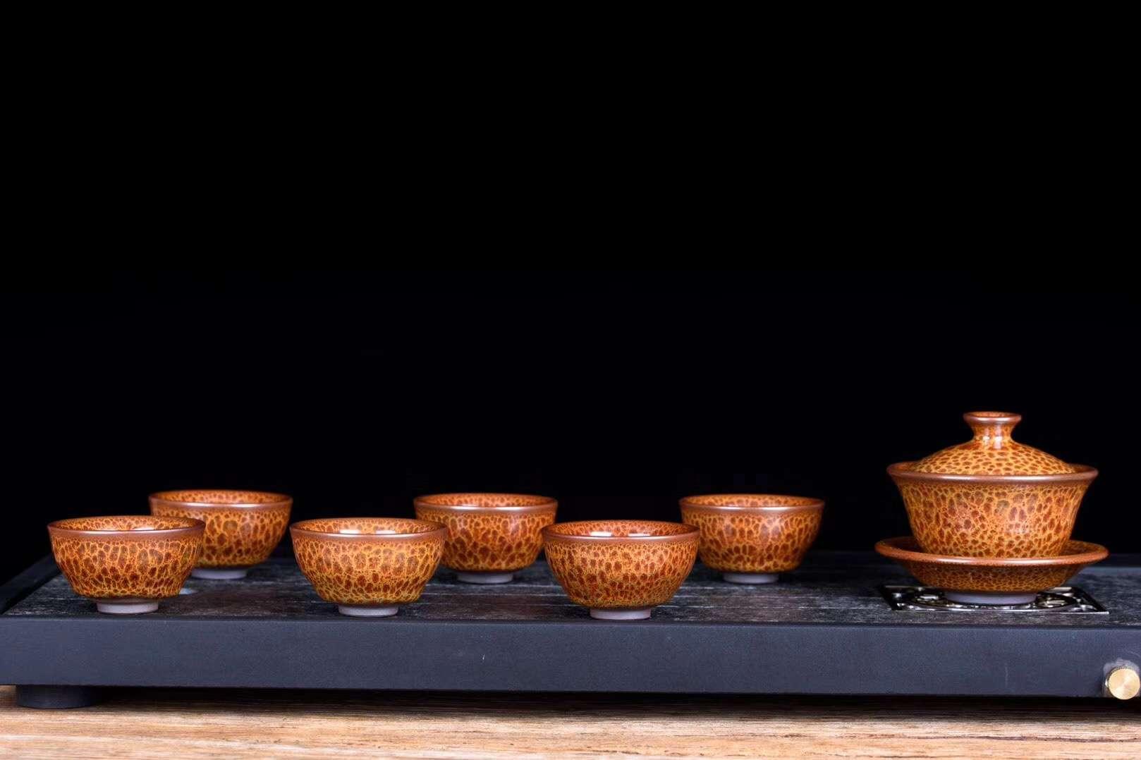 新品推荐  仿宋建盏  火龙鹧鸪   12件套茶具套装
