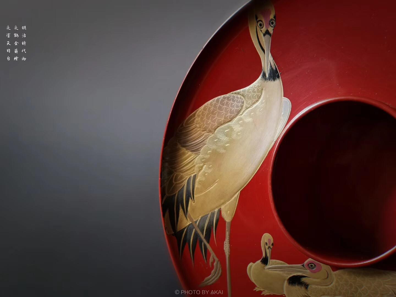 日本回流 漆器盏托  民治时代物 朱鹮金时绘 朱涂天目台